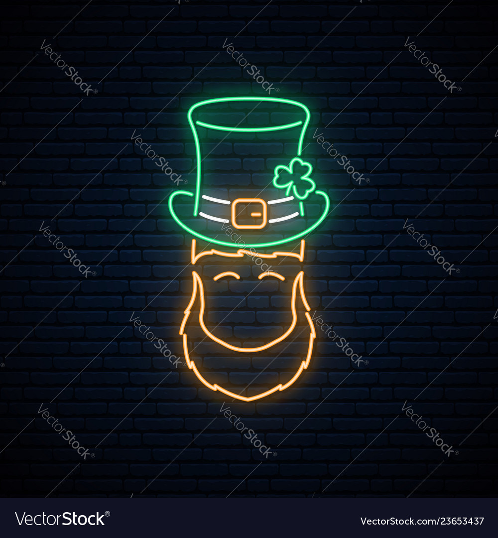 Neon leprechaun with patricks green hat