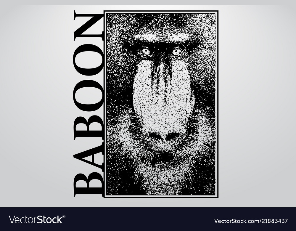 Silhouette of a baboon from particles