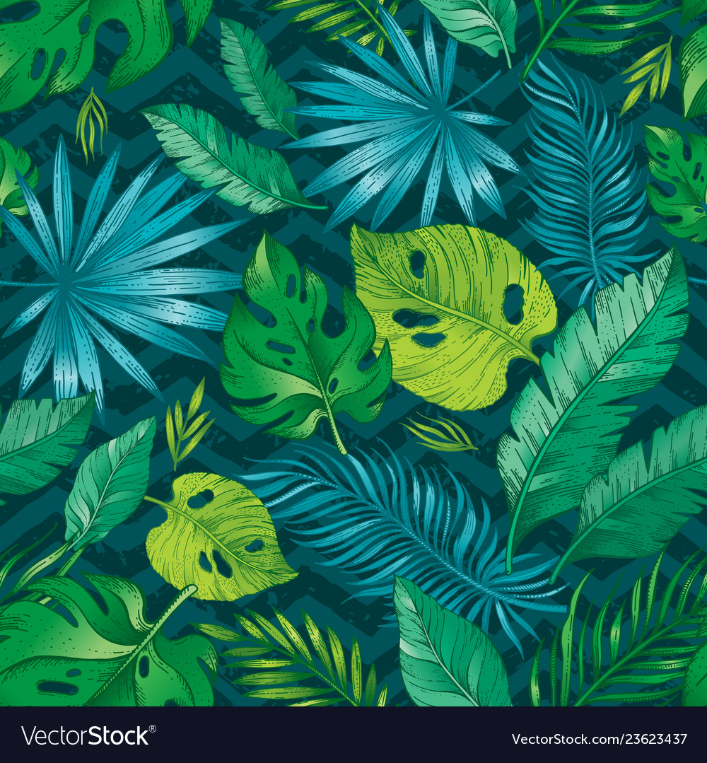 Tropic palm leaf seamless pattern tropical nature