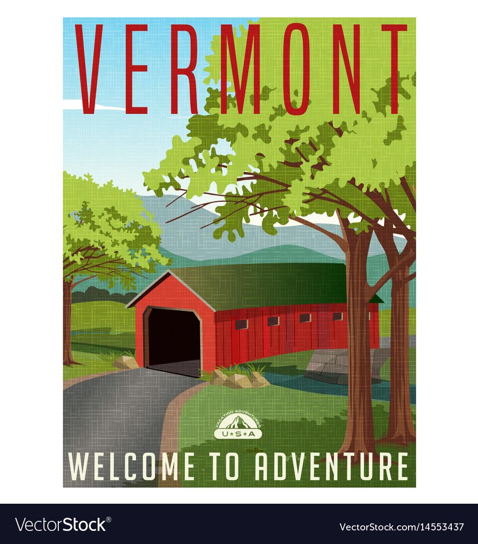 Vermont covered bridge travel poster