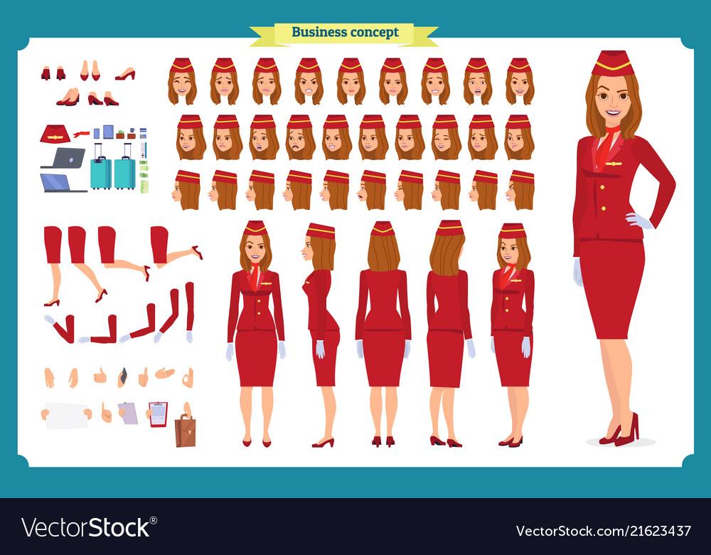 Woman character creation set the stewardess