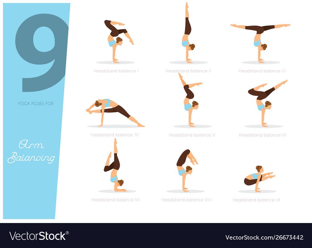 9 Yoga Poses For Arm Balancing Royalty Free Vector Image