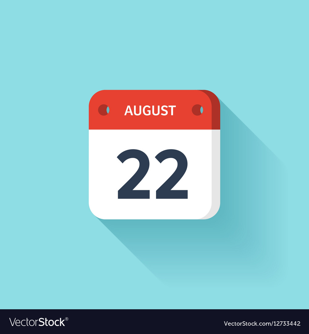 August 22 Isometric Calendar Icon With Shadow
