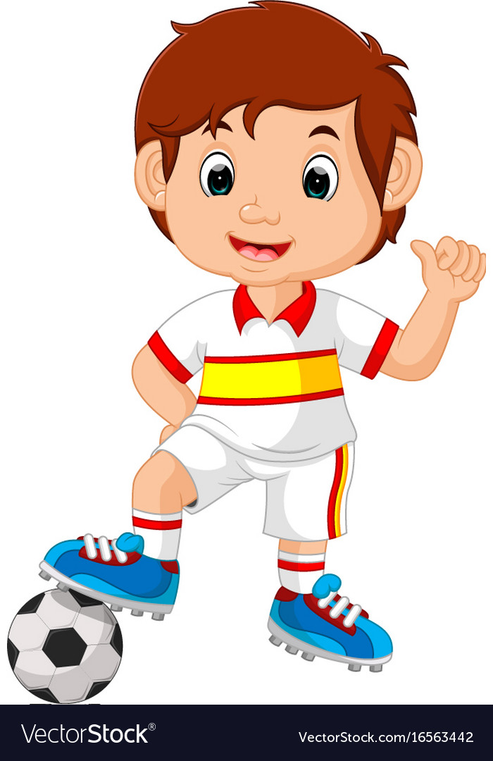 Cartoon child playing football Royalty Free Vector Image