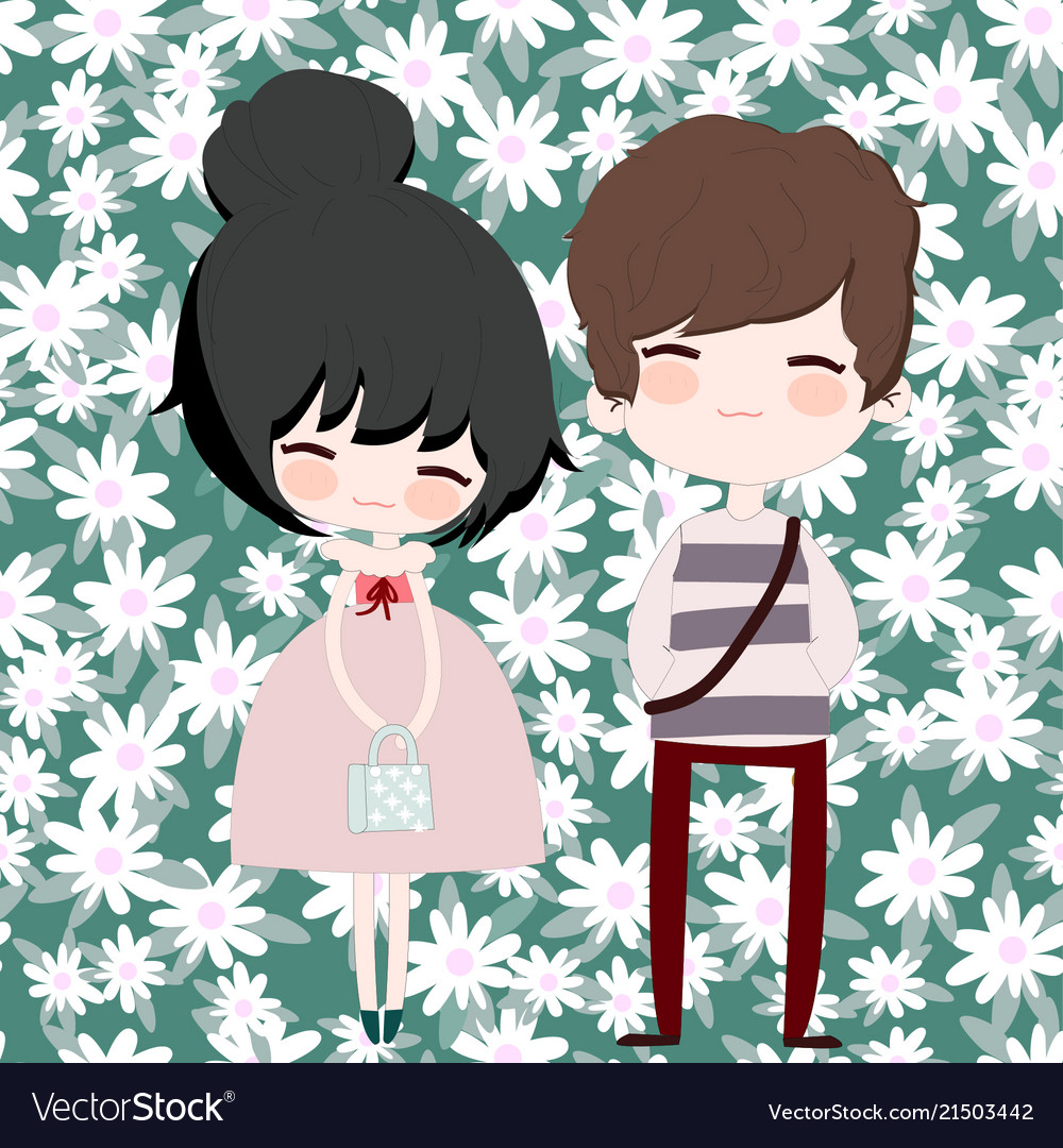 Cute Couple Cartoon In Flower Seamless Pattern Vector Image