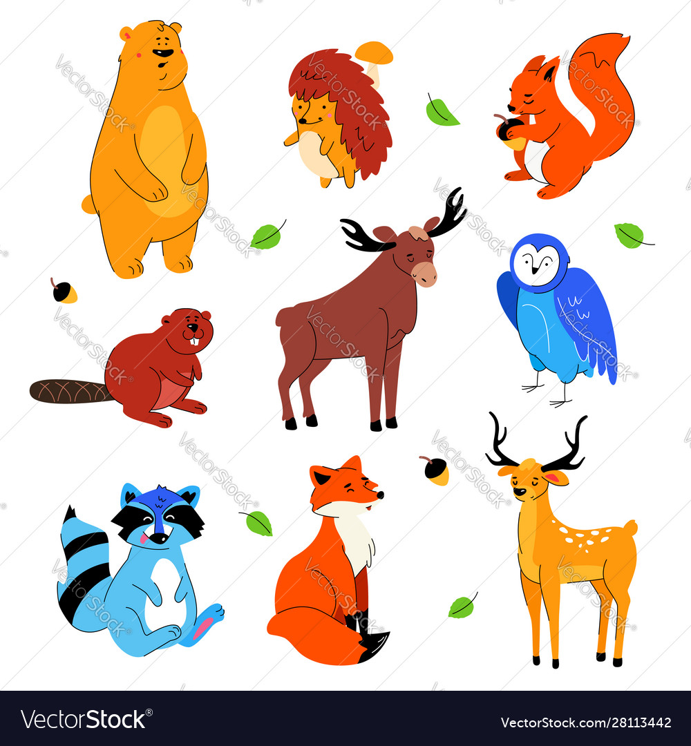 Cute forest animals - flat design style set