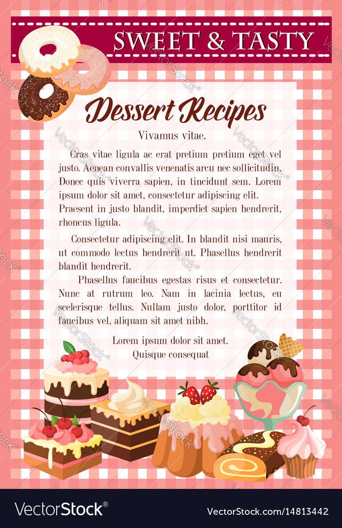 Dessert recipe poster template with cake donut