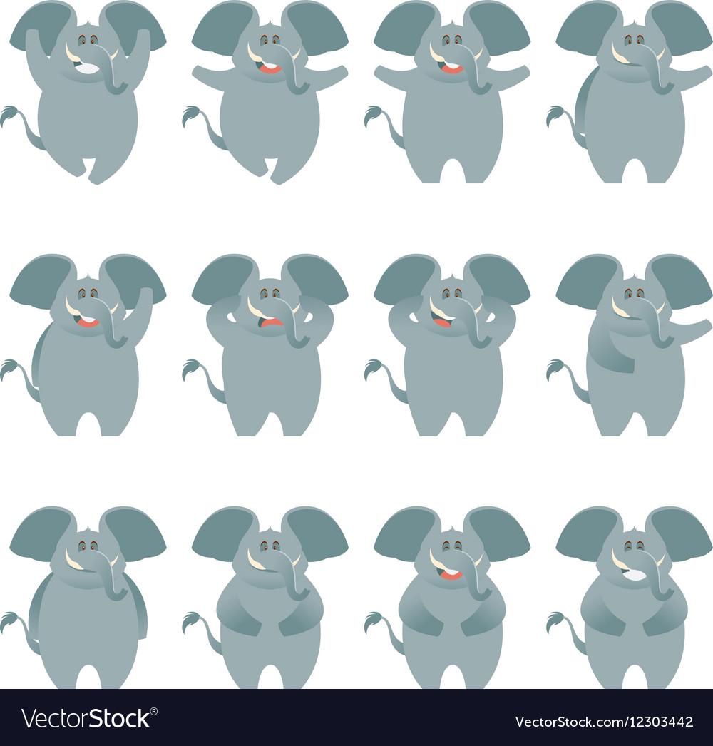 Elephant flat icons set