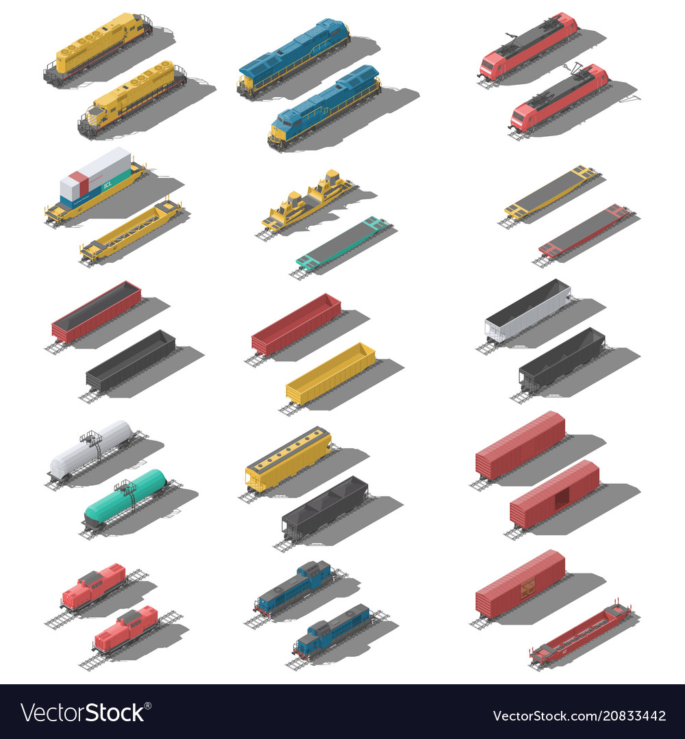 Freight railroad cars and locomotives isometric