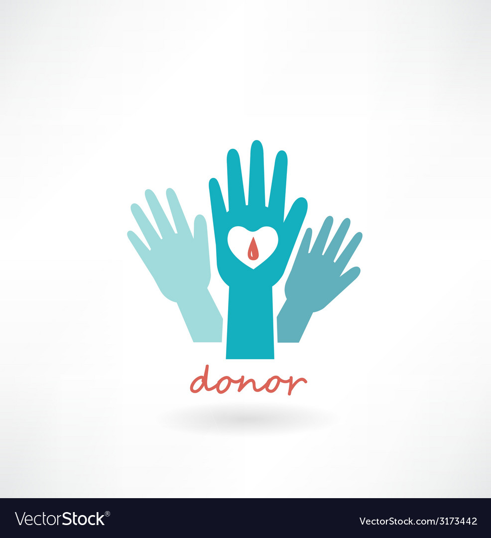 Hand with heart blood transfusions in the
