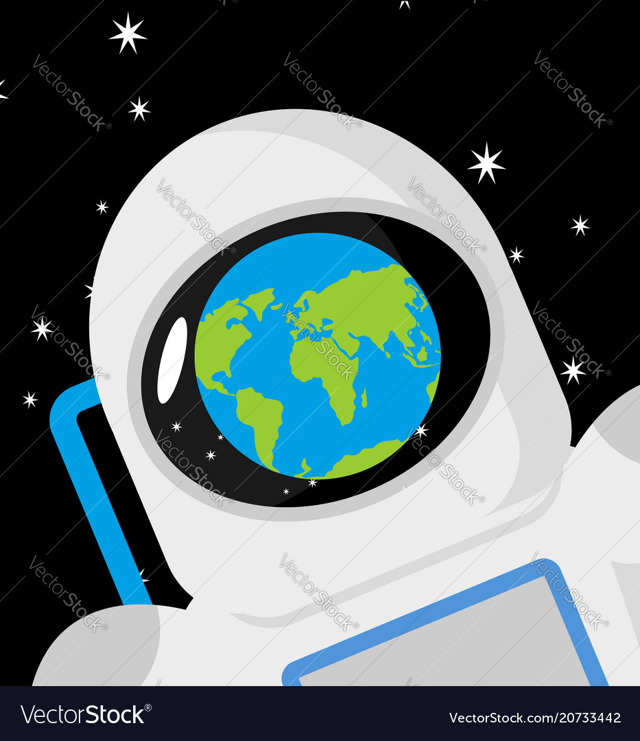 Helmet astronaut and planet earth reflection
