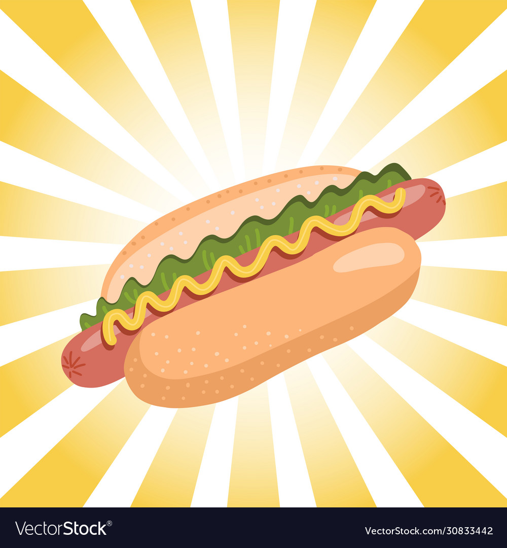 Hot dog with mustard and lettuce on retro radial