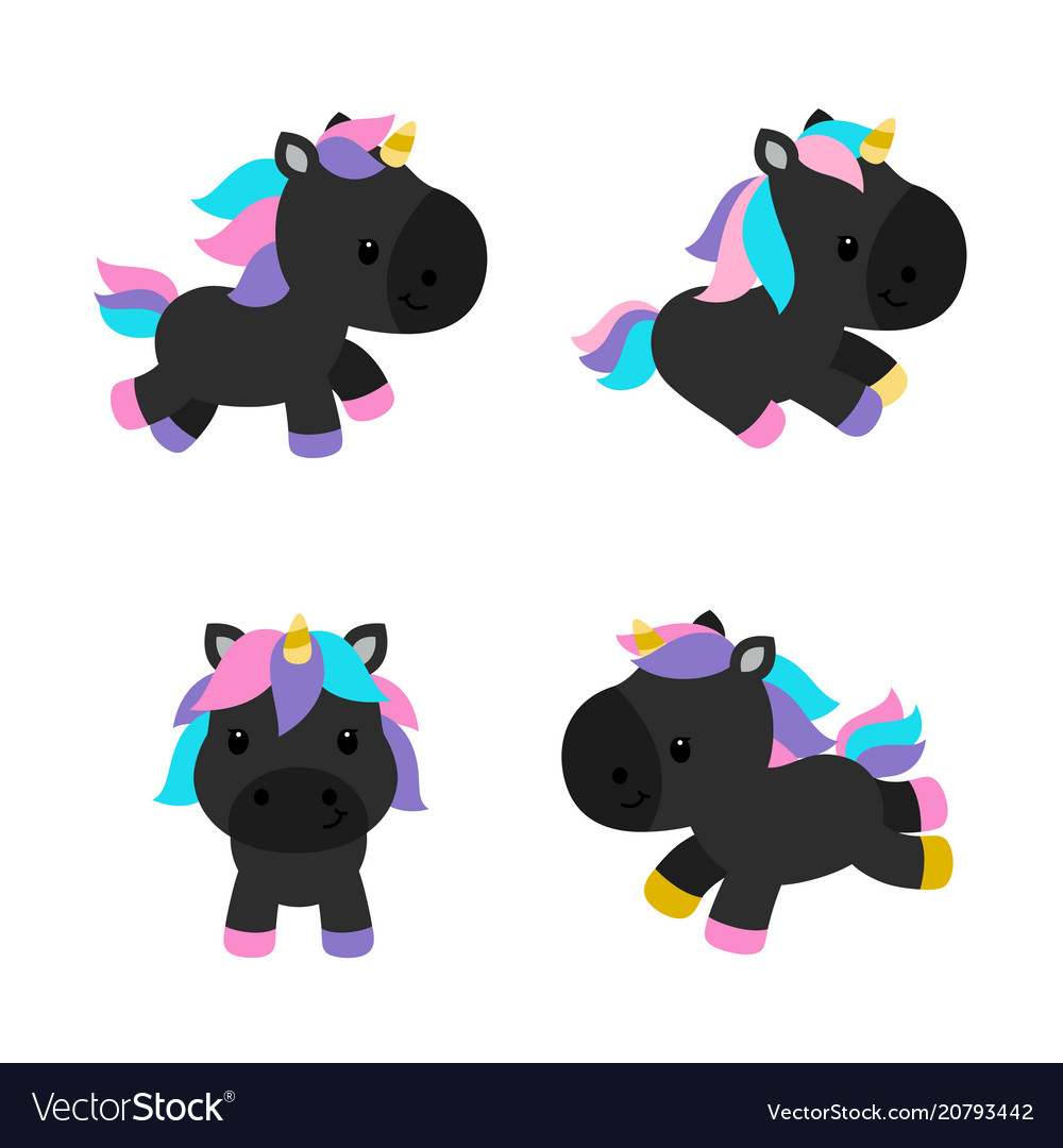 Little unicorns in modern flat style isolated on