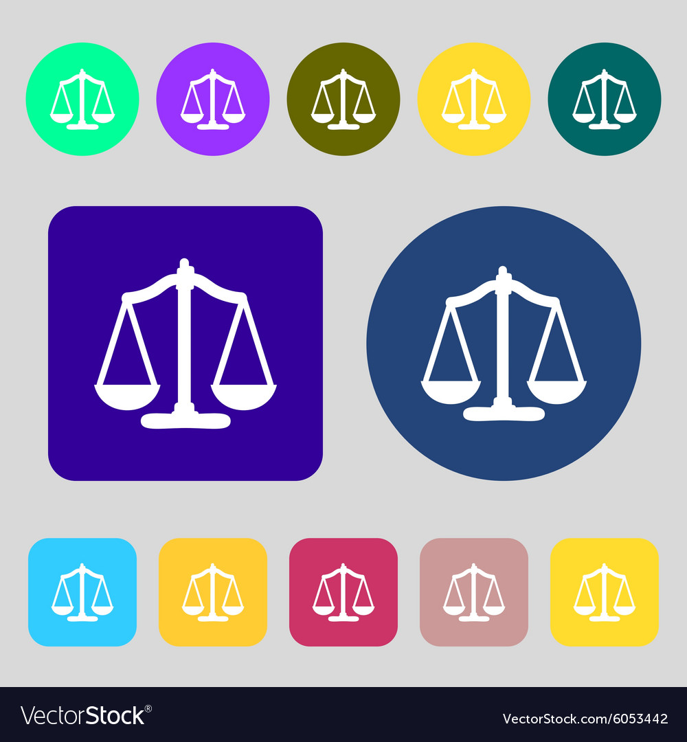 Scales balance 12 colored buttons Flat design vector image