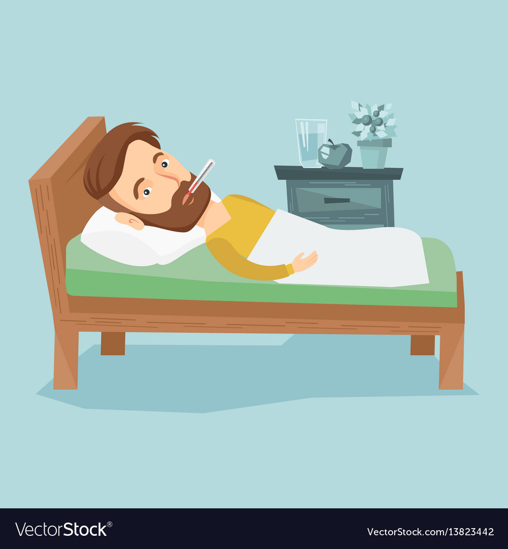 Sick man with thermometer laying in bed royalty free vector sick man with thermometer laying in bed vector image thecheapjerseys Choice Image