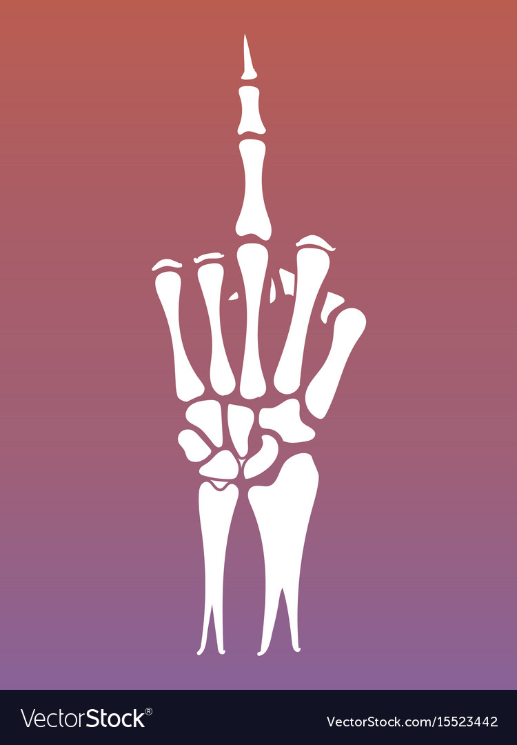 Skeleton hand sign with middle finger