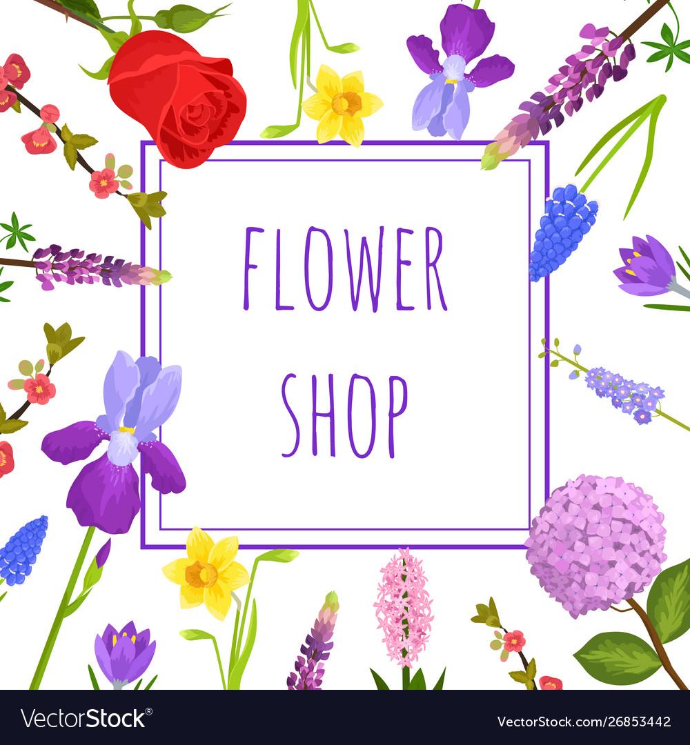 Summer floral greeting card or flower shop banner