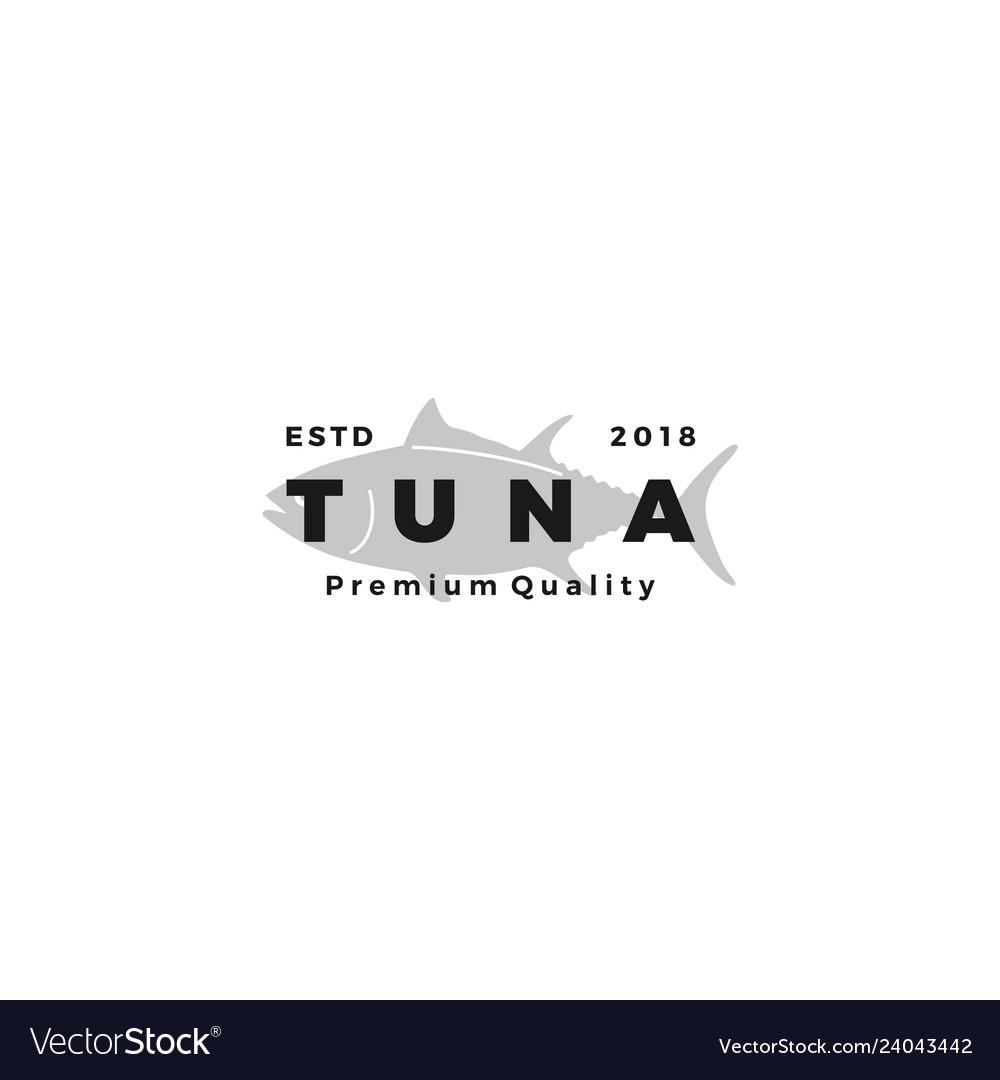 Tuna fish logo emblem label seafood icon