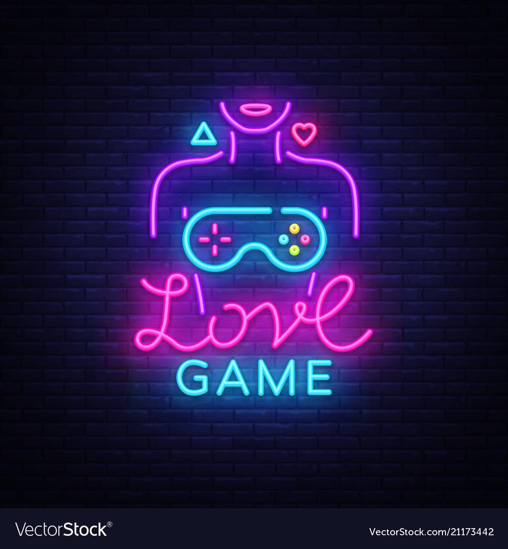 Video games conceptual logo love game neon