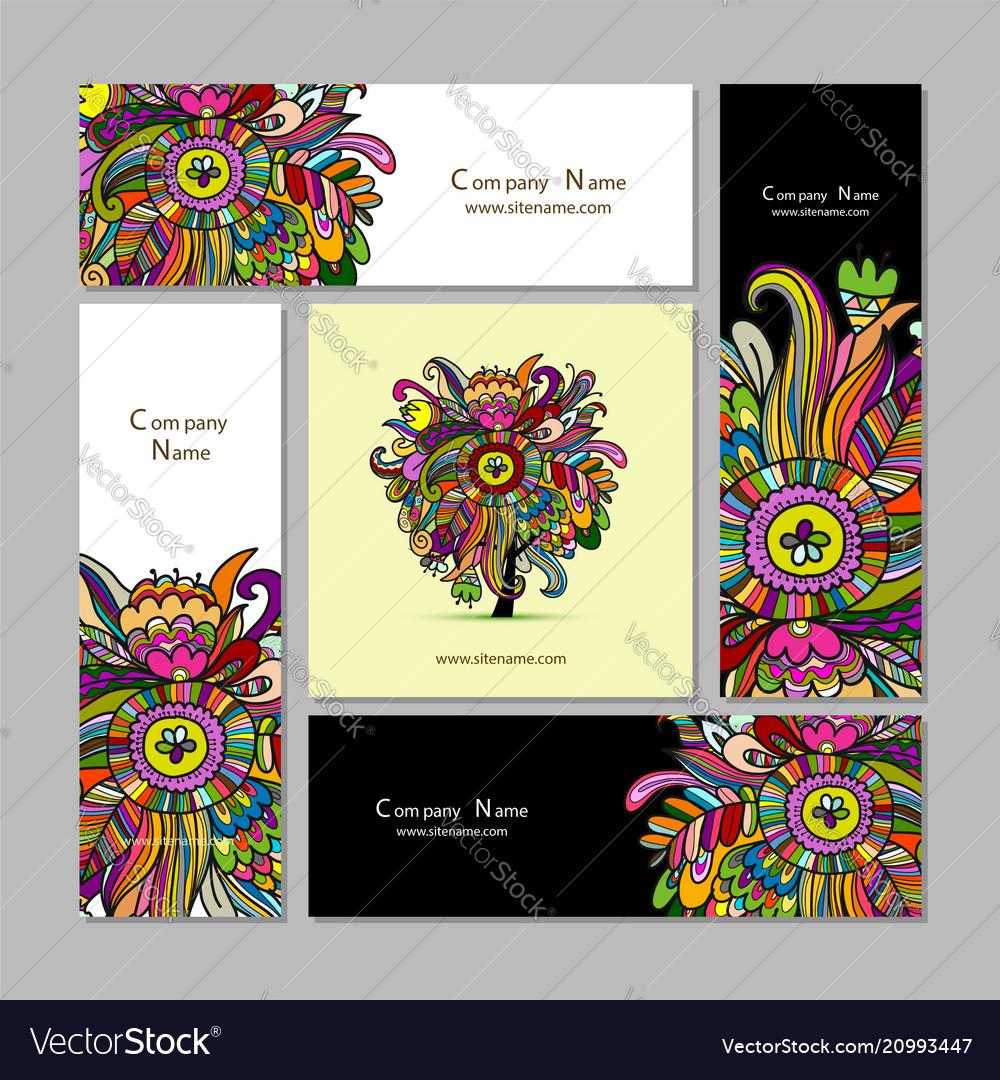 Business cards design floral background