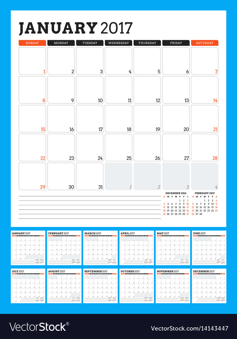 Calendar template for 2017 year week starts