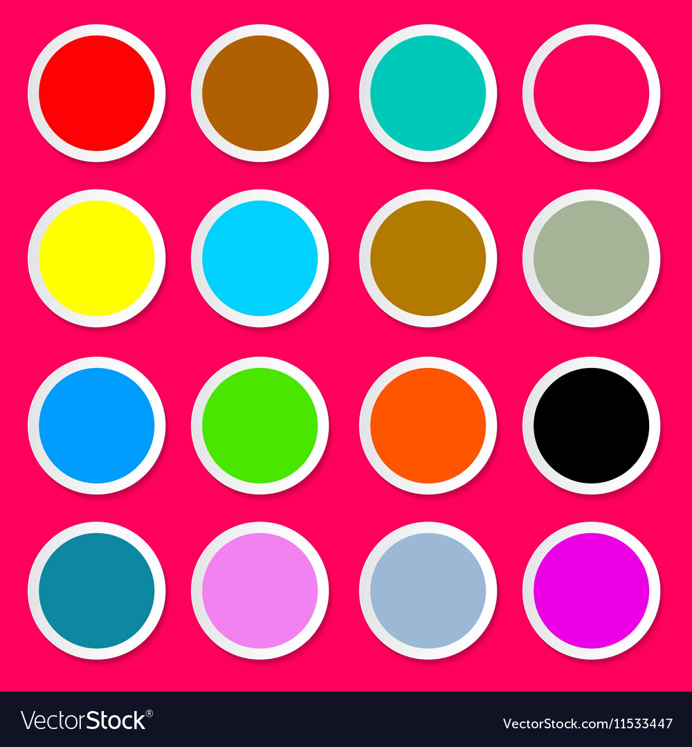 Colorful Paper Circles on Pink - Red Background
