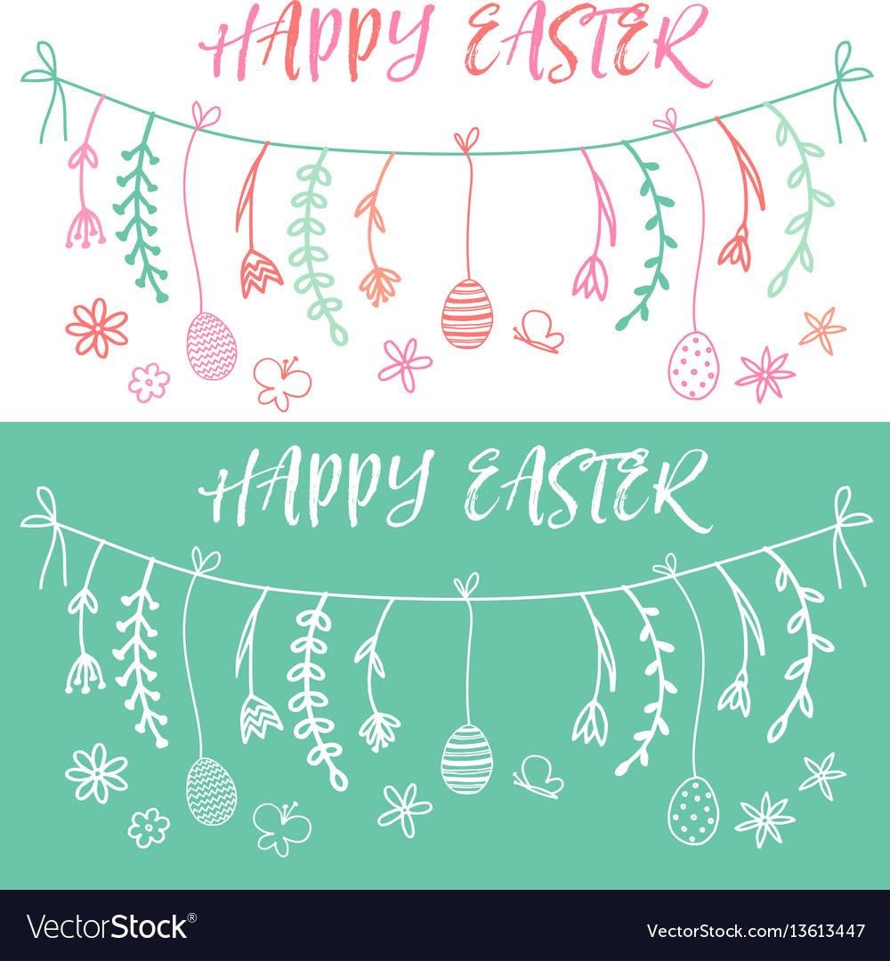 Easter banner set vector image