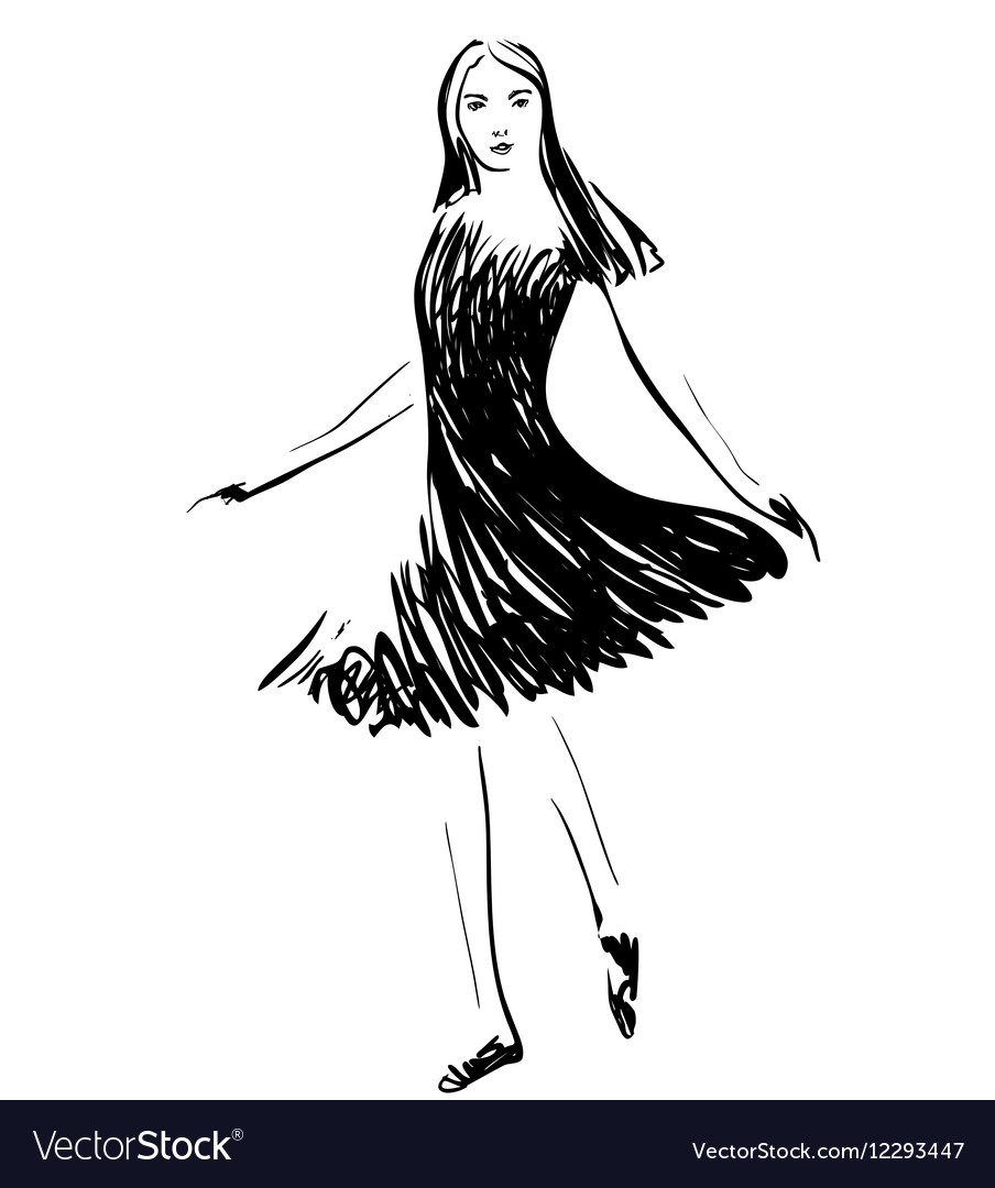 Fashion models in the dress sketch