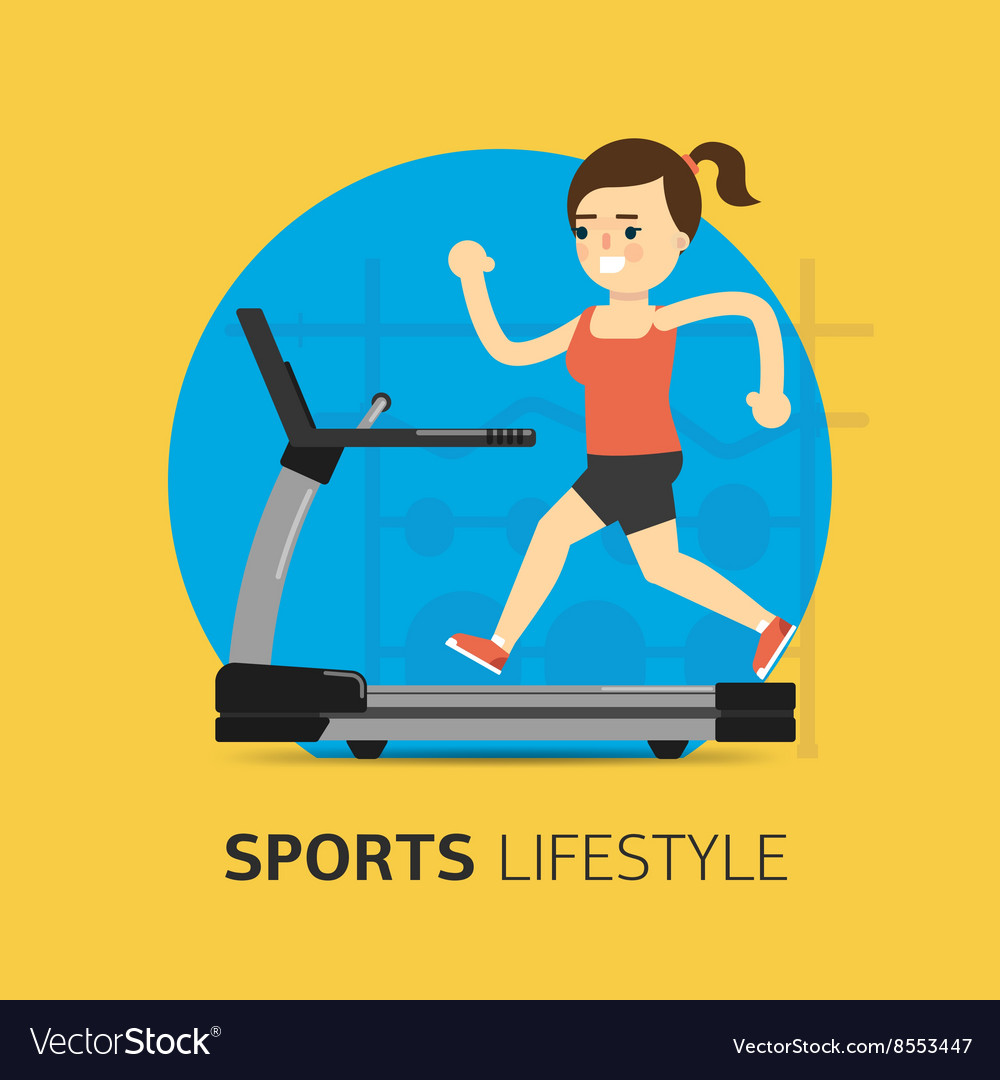 Girl running on the treadmill vector image