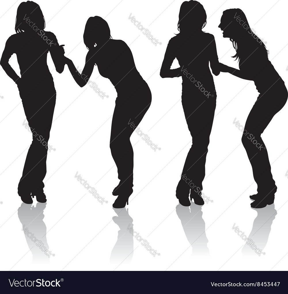 Girls laughing silhouettes