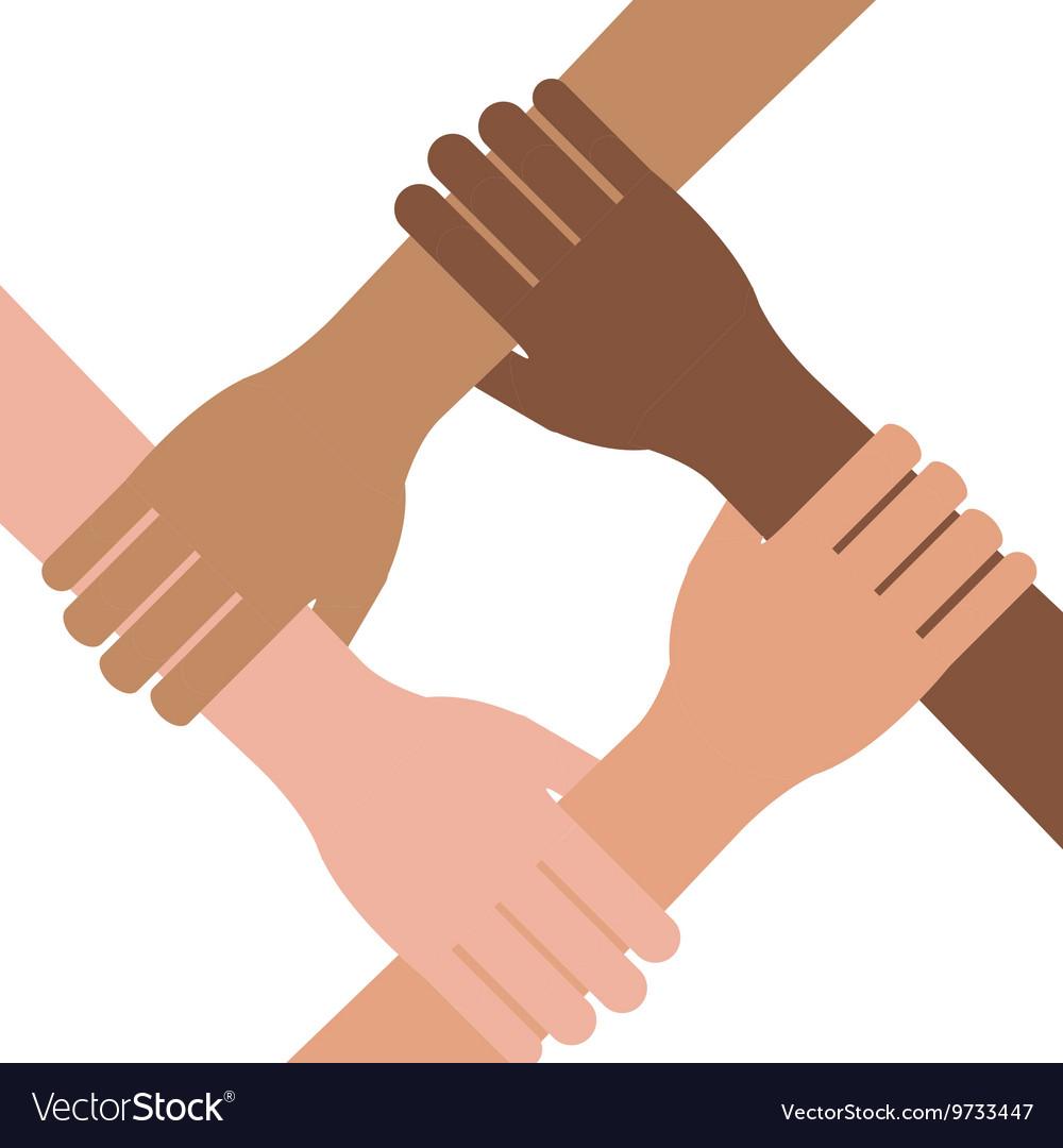 Multi Ethnic Hands Teamwork Unity Royalty Free Vector Image