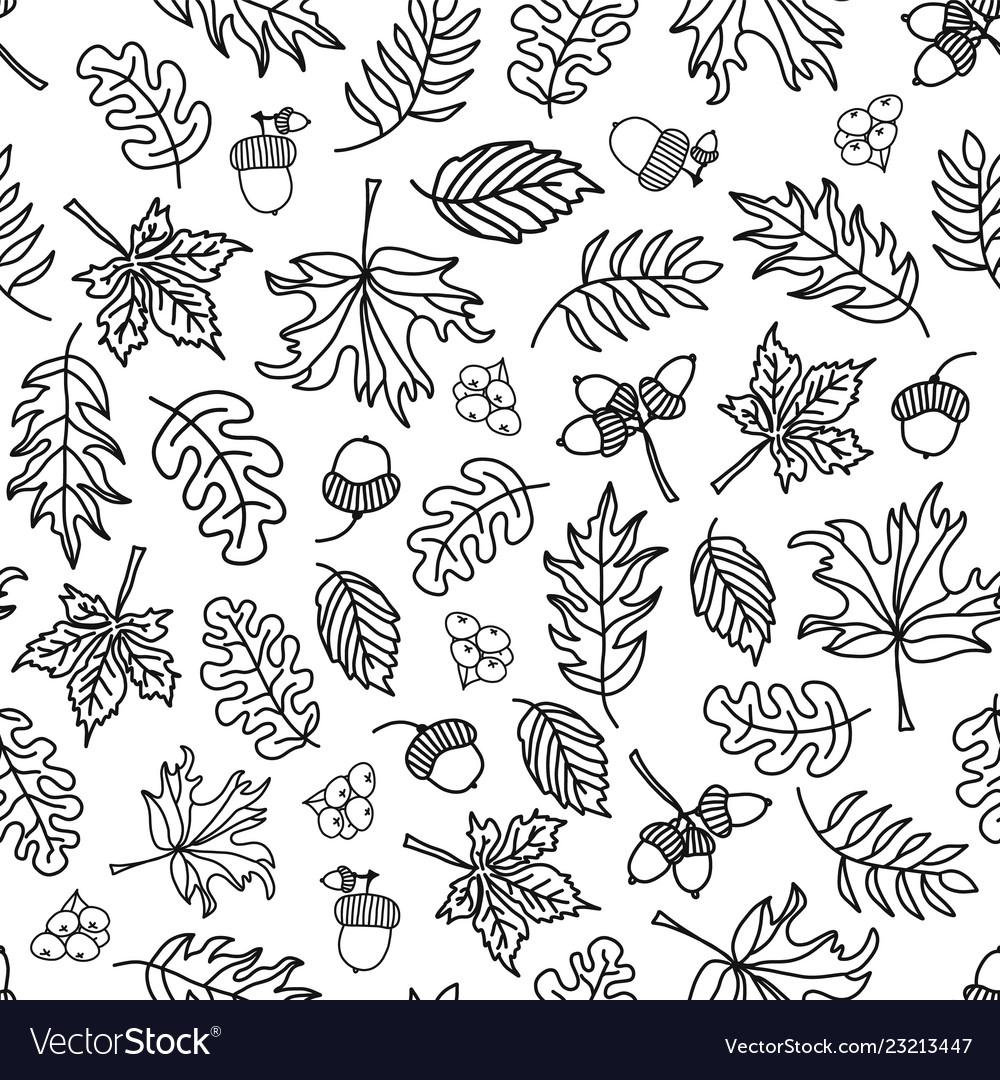 Seamless doodle leaf background monochrome