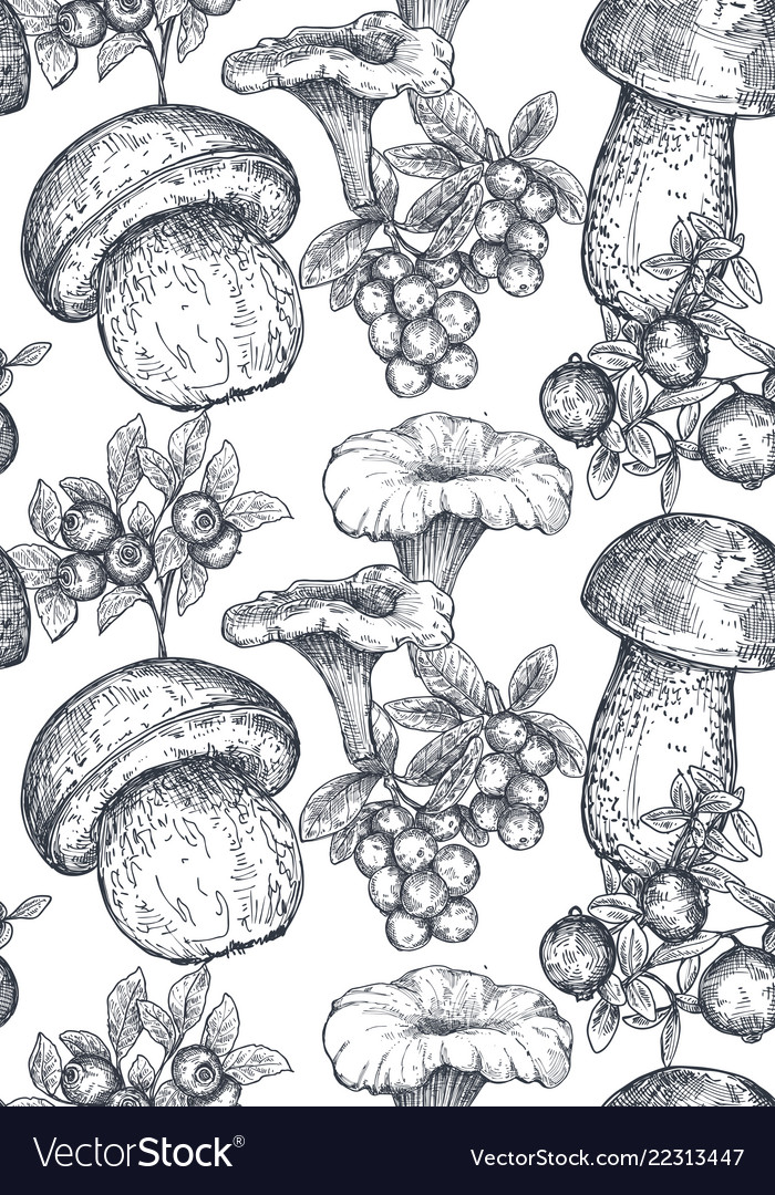 Seamless pattern with hand drawn forest