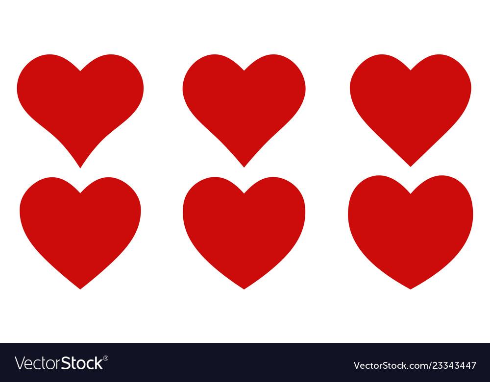 Set red shape heart icon set heart shape