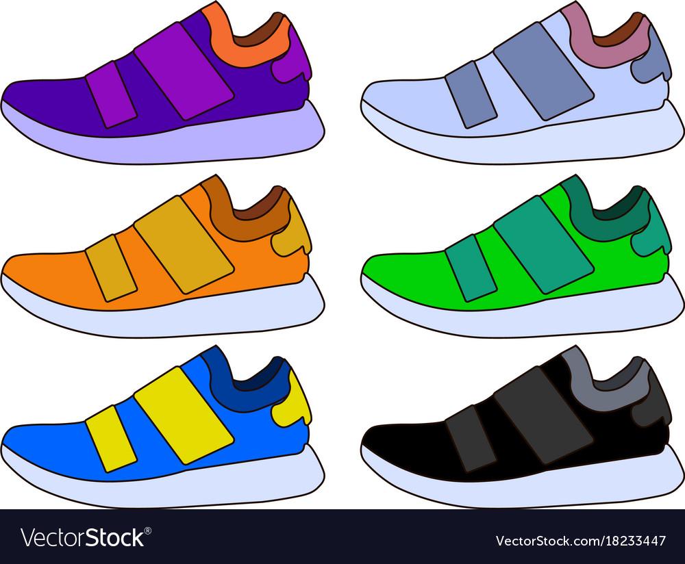 Sneaker sport shoe color flat icon symbol set