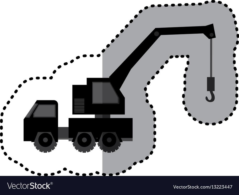 Sticker monochrome tow truck vehicle transport vector image