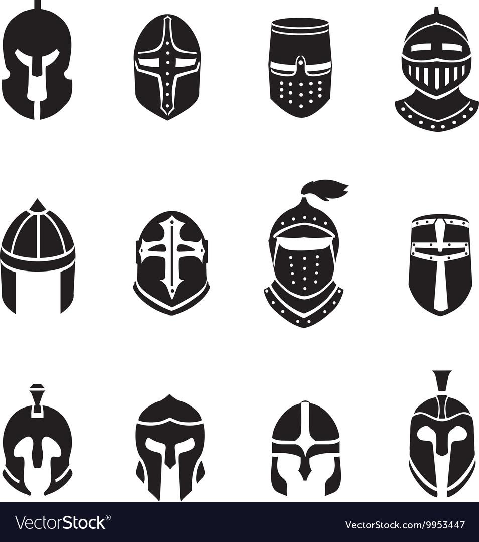 Warrior helmets black icons or logos set Knight
