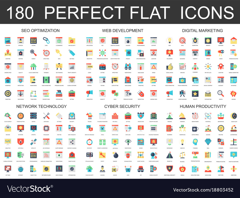 180 modern flat icons set of seo optimization web