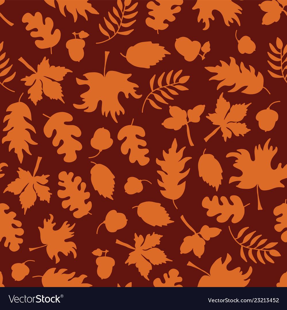Autumn leaves seamless background orange