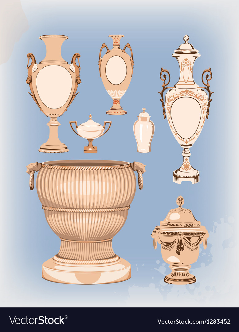 Collection of decorative ceramic vases vector image