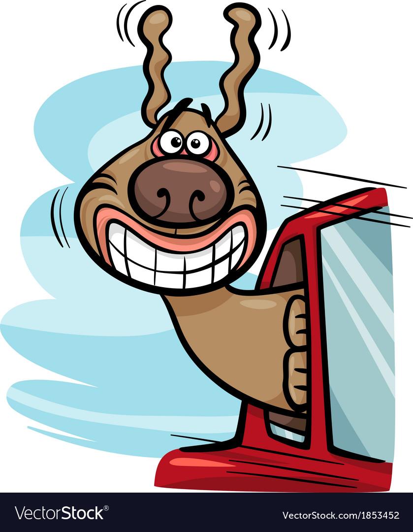 Dog in car cartoon