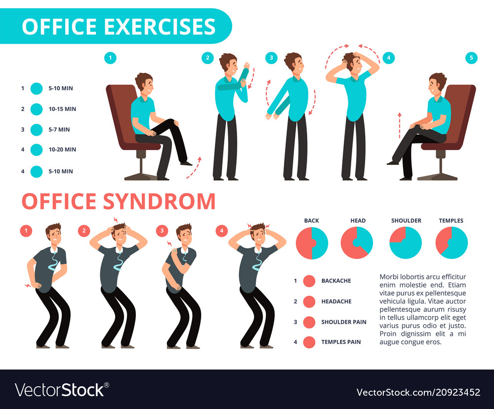 employee doing office exercises desk medical vector image