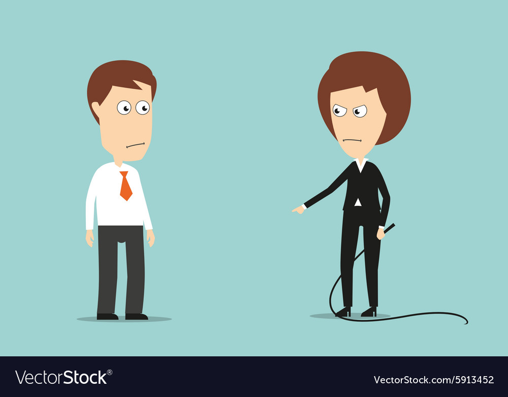 Female boss with whip training lazy employee