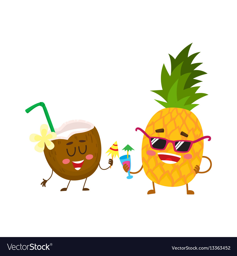 Funny pineapple and coconut characters drinking