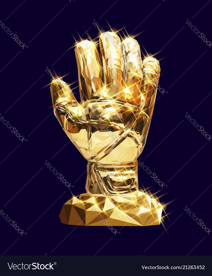3a9ff7e34 Golden glove Royalty Free Vector Image - VectorStock