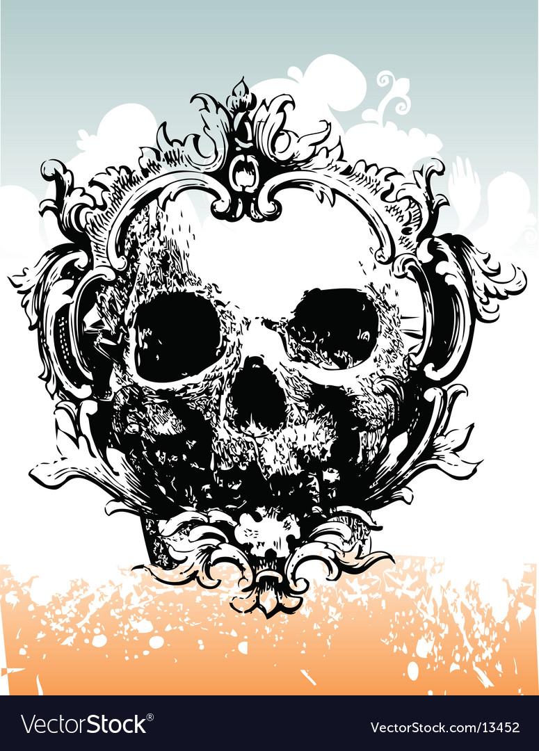 Grunge skull illustration vector image