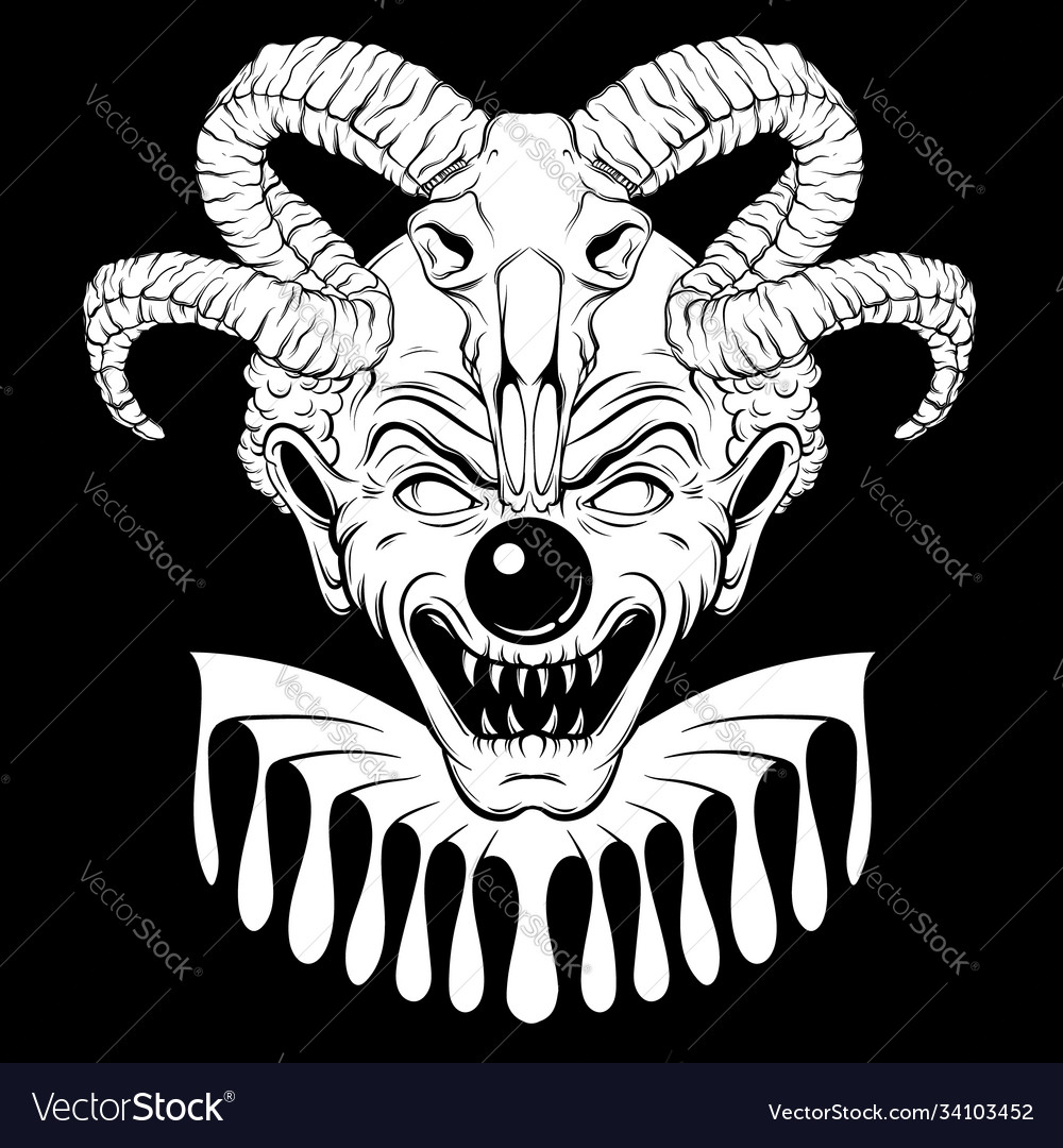 Hand drawn angry clown with ram skull tattoo