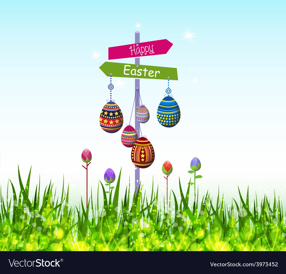 Happy Easter Eggs Hanging On Tree Royalty Free Vector Image