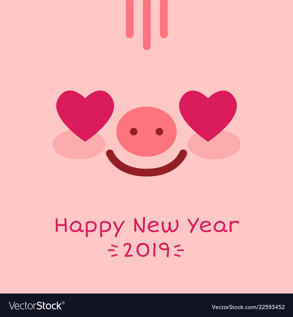 Happy new year 2019 zodiac pig sign character face