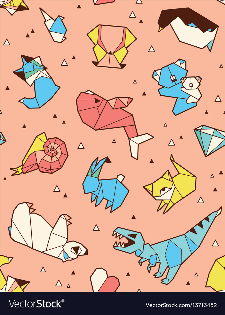 Origami pattern background with animals